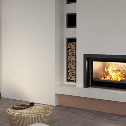 Seguin Europa 7 VL Lift Black Line Glass Cast Iron Cheminee Fireplace