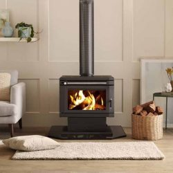 Saxon Blackwood Freestanding Wood Fireplace