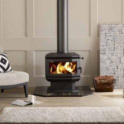 Saxon Walnut Freestanding Wood Fireplace