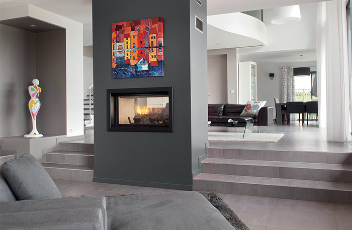 Axis H1600 Double Sided Inbuilt Wood Fireplace
