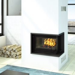 Seguin Europa 7 VL Black Line Glass Cast Iron Cheminee Fireplace
