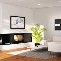 Seguin Visio 8 Plus Black Line Glass Cast Iron Cheminee Fireplace