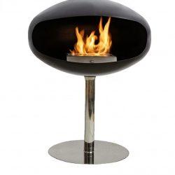Cocoon Pedestal Black Bio Ethanol Fireplace